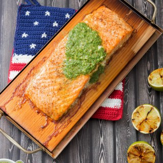Cedar Plank Salmon with Cilantro Pesto and Grilled Lime