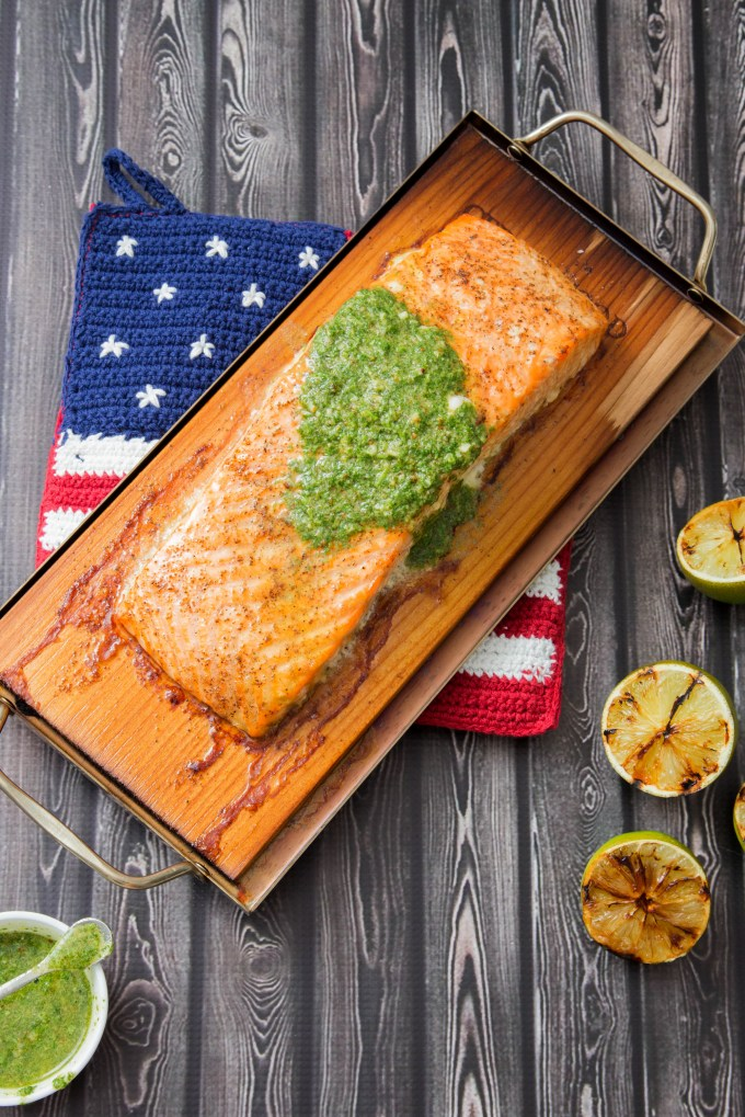 Cedar Plank Salmon with Cilantro Pesto and Grilled Lime 3 | The Missing Lokness