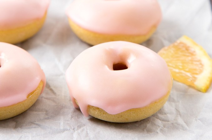 Mini Pink Lemon Baked Donuts