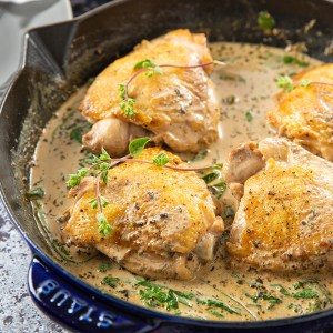 Black Garlic Cream Sauce Chicken Thighs #chickenthighs #blackgarlic #creamsauce #weeknightmeal   The Missing Lokness