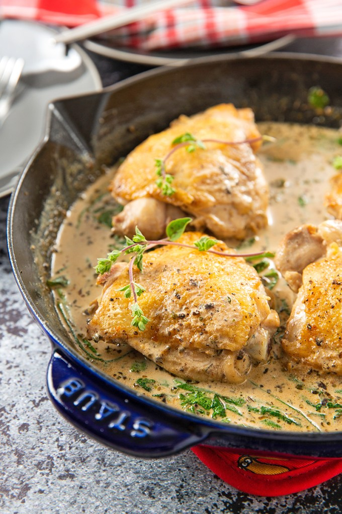 Black Garlic Cream Sauce Chicken Thighs #chickenthighs #blackgarlic #creamsauce #weeknightmeal | The Missing Lokness
