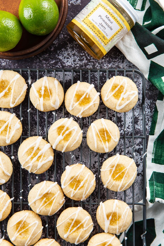 Pineapple Lime Shortbread Thumbprint Cookies #pineapple #shortbread #thumbprintcookie #lime #cookies #baking #ediblegift #dessertrecipe #dessert | The Missing Lokness