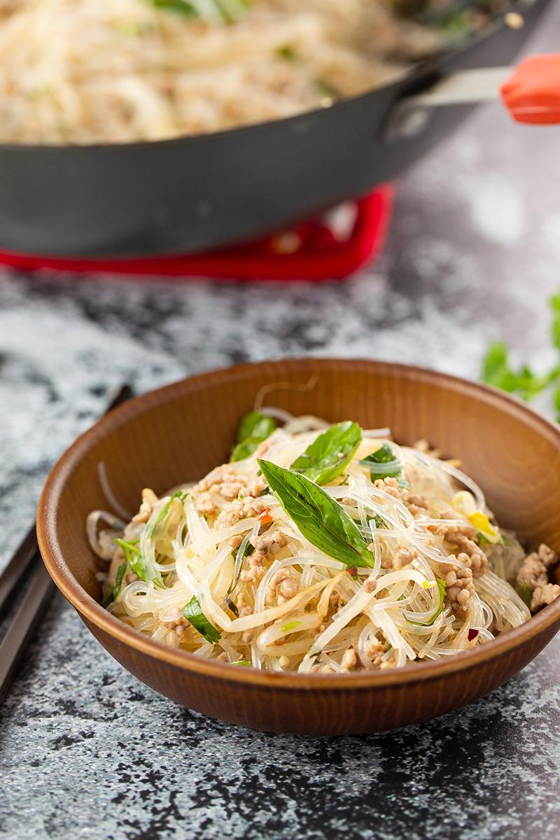 Pork and Thai Basil Cellophane Noodles #noodles #noodlerecipe #stirfry #thaibasil #pork #stirfrynoodles #cellophanenoodles #dinner #dinnerrecipe | The Missing Lokness