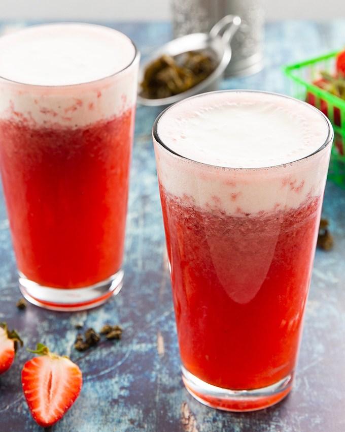 Strawberry Cheese Tea #tea #icedtea #strawberry #cheesetea #drink #strawberrytea #summerdrink | The Missing Lokness