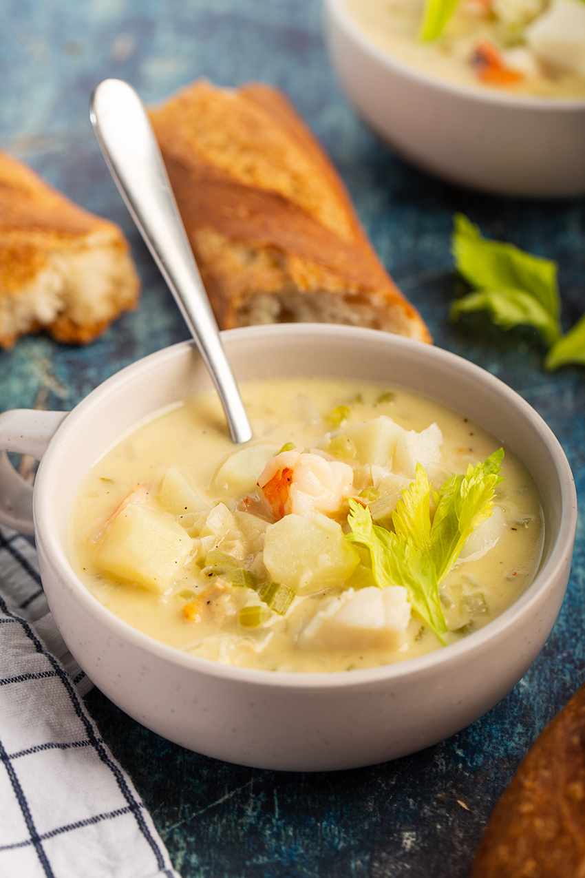 Seafood Chowder #seafood #chowder #shrimp #scallop #cod #clam #soup #dinner #dinnerrecipe #comfortfood #appetizer #appetizerrecipe | The Missing Lokness