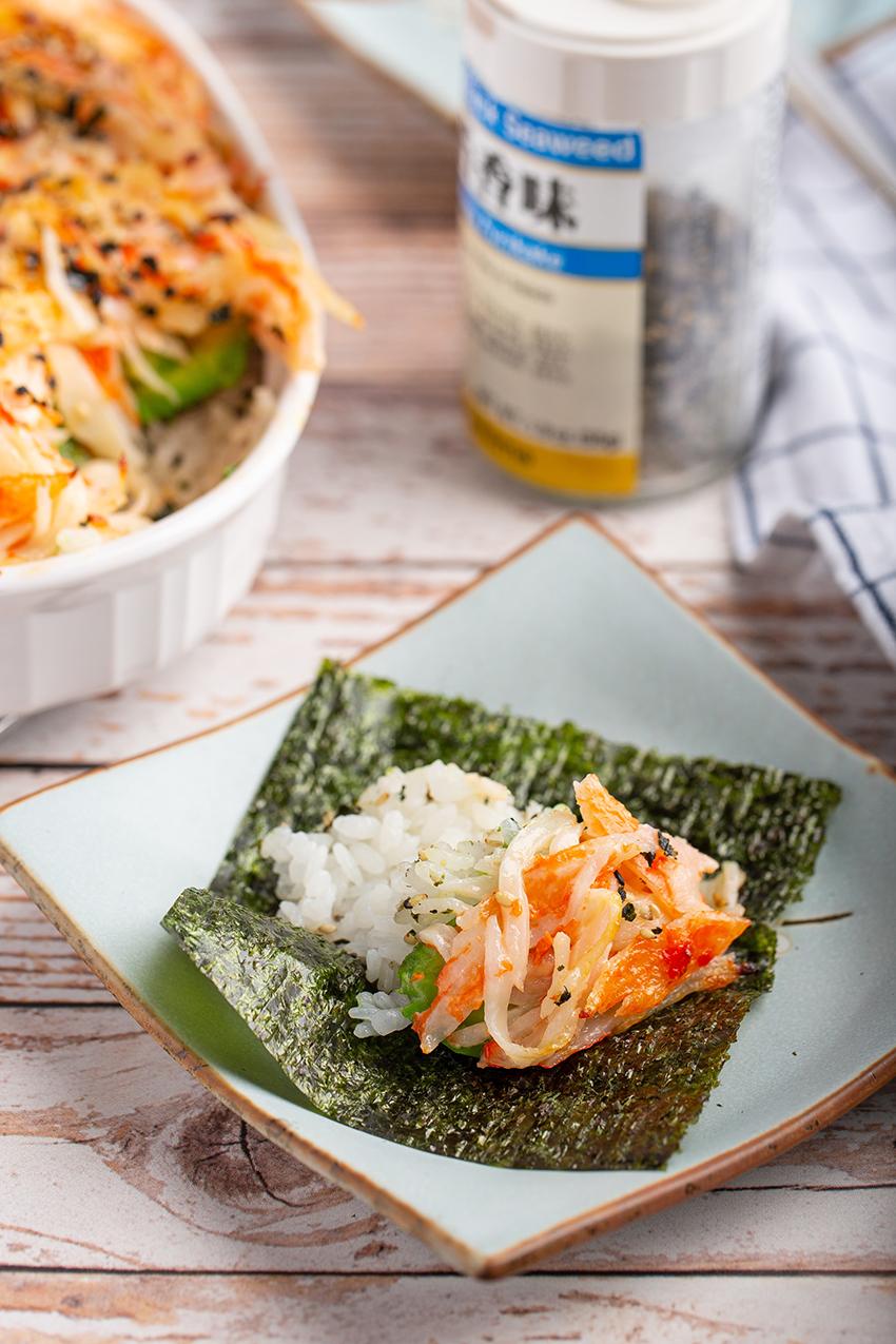 Easy Sushi Bake #sushibake #hawaiianrecipe #imitationcrab #avocado #easyrecipe #furikake #seaweed #dinner #dinnerrecipe #appetizer | The Missing Lokness
