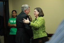 Gov. Parson talks to Kansas City Councilwoman Jolie Justus before a Prop D rally on October 17, 2018. PHOTO/ALISHA SHURR - THE MISSOURI TIMES