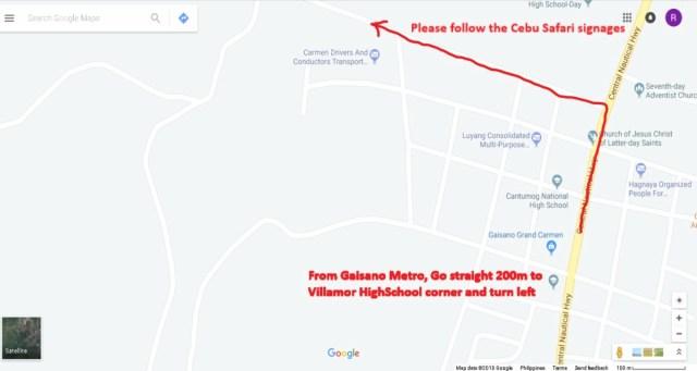 Cebu Safari Road Map