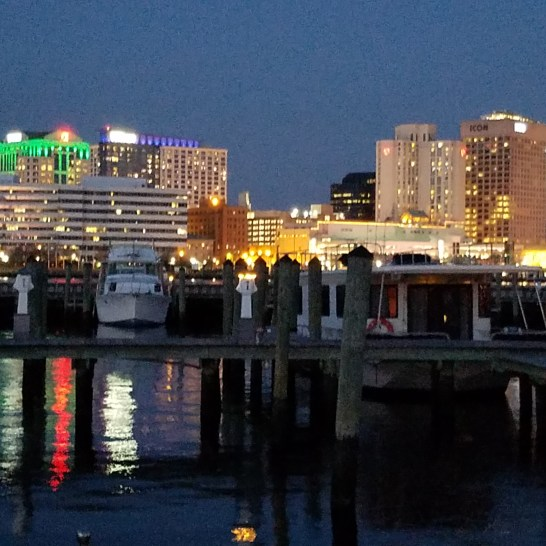 Beautiful night view of Norfolk from Tidewater