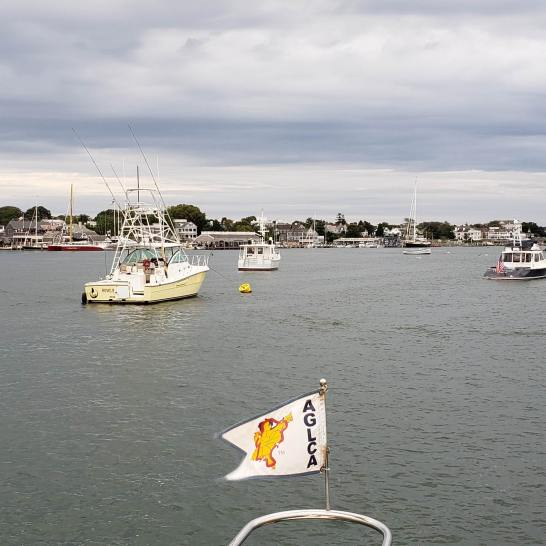 This is the last picture of our burgee, as the wind took it shortly after leaving Edgartown Harbor.
