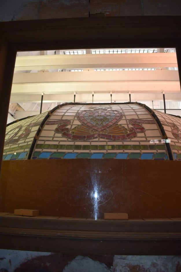 Above the foyer's glass dome infrastructure
