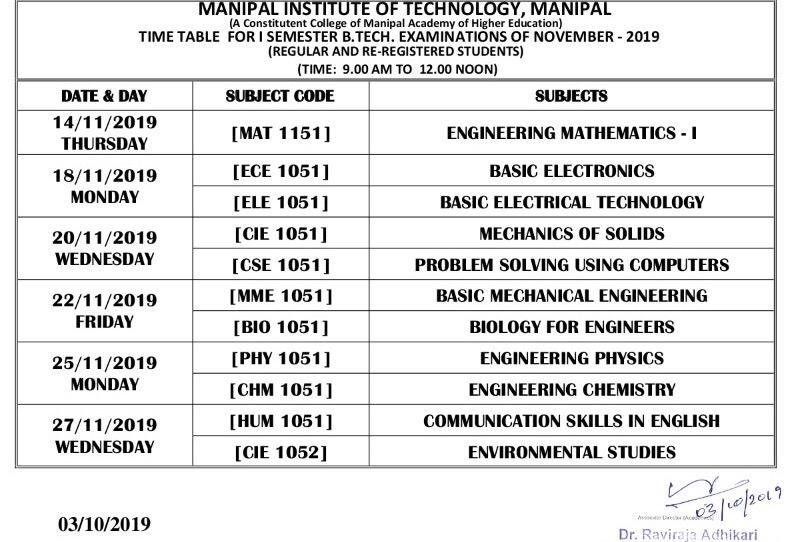 End Semester Schedule - Sem I