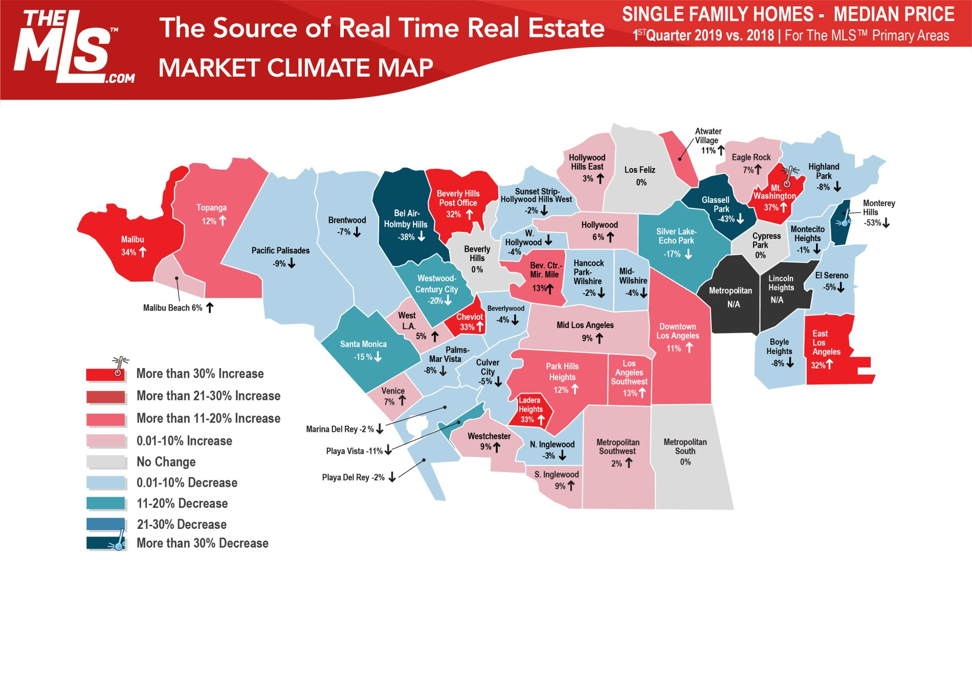 los angeles real estate market climate map single family homes 2019 first quarter