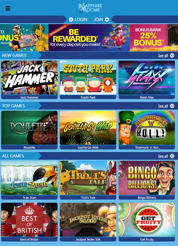Sapphire Rooms homepage