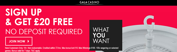 Mobile Casino UK - Gala 20 free Bonus
