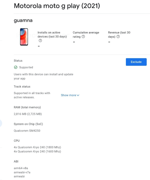 Moto G Play (2021) Google Play Console listing