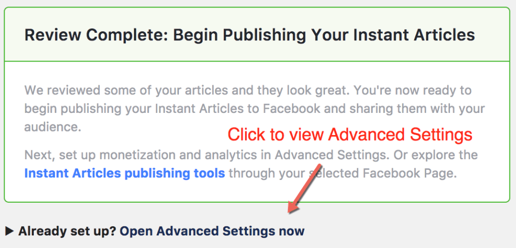 Facebook Instant Articles Advanced Settings