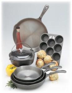 Set of cast iron cookware