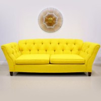 Bright Colored Sofas 1960s 70s Bright Yellow On Tufted ...
