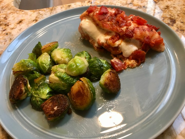 Tomato & Mozzarella Stuffed Chicken with Pan-Seared Brussels Sprouts