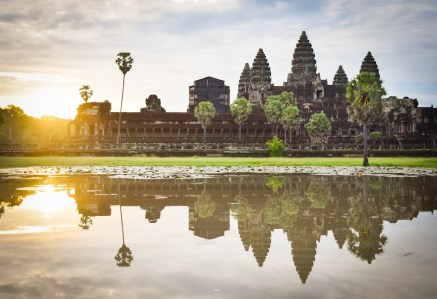 Sunrise at Angkor Wat in Siem Reap, Cambodia.