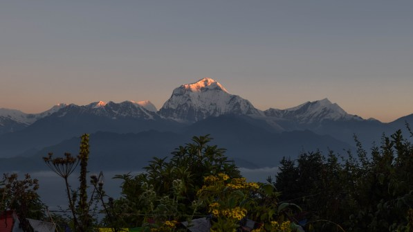 First light hitting Dhaulagiri- the world's seventh highest mountain. Nepal.