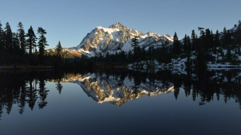 A picture-perfect evening at Picture Lake. Mount Baker Wilderness, Washington.