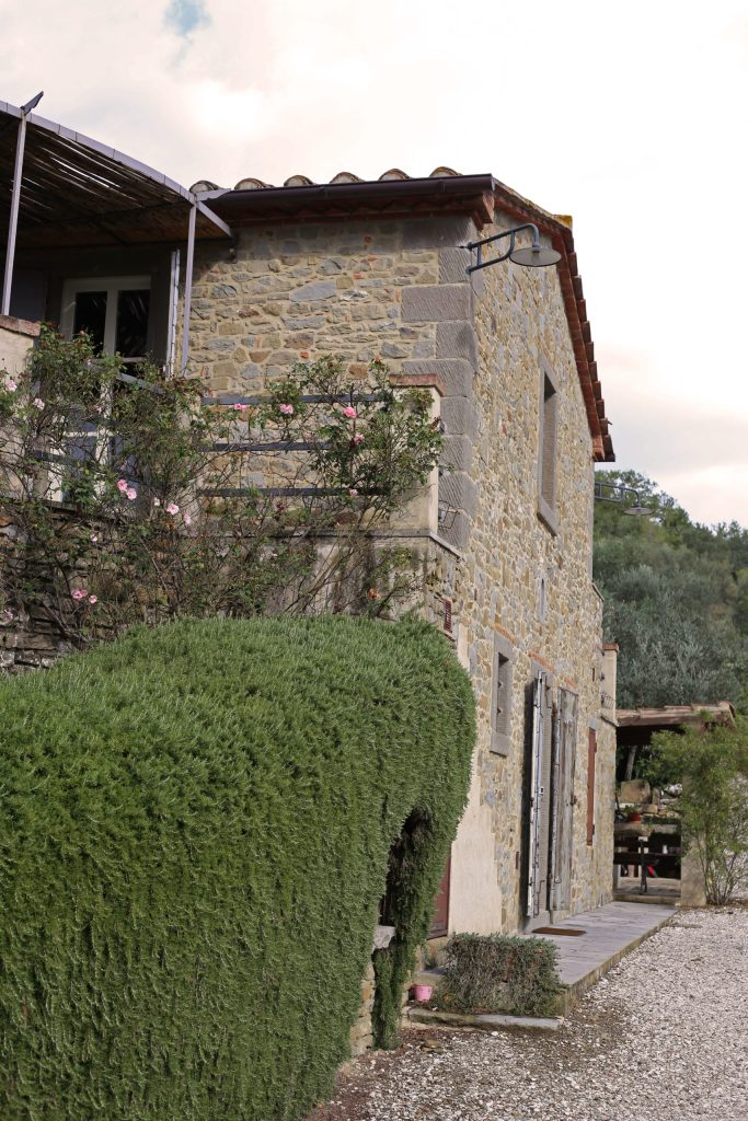 The villa in Cortona surrounded by rosemary