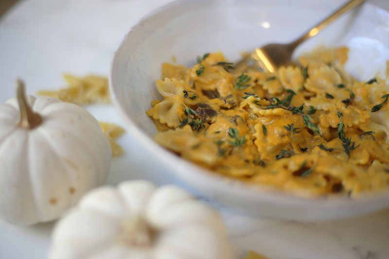 Staged fall pumpkin Alfredo ready to be enjoyed by the whole family.