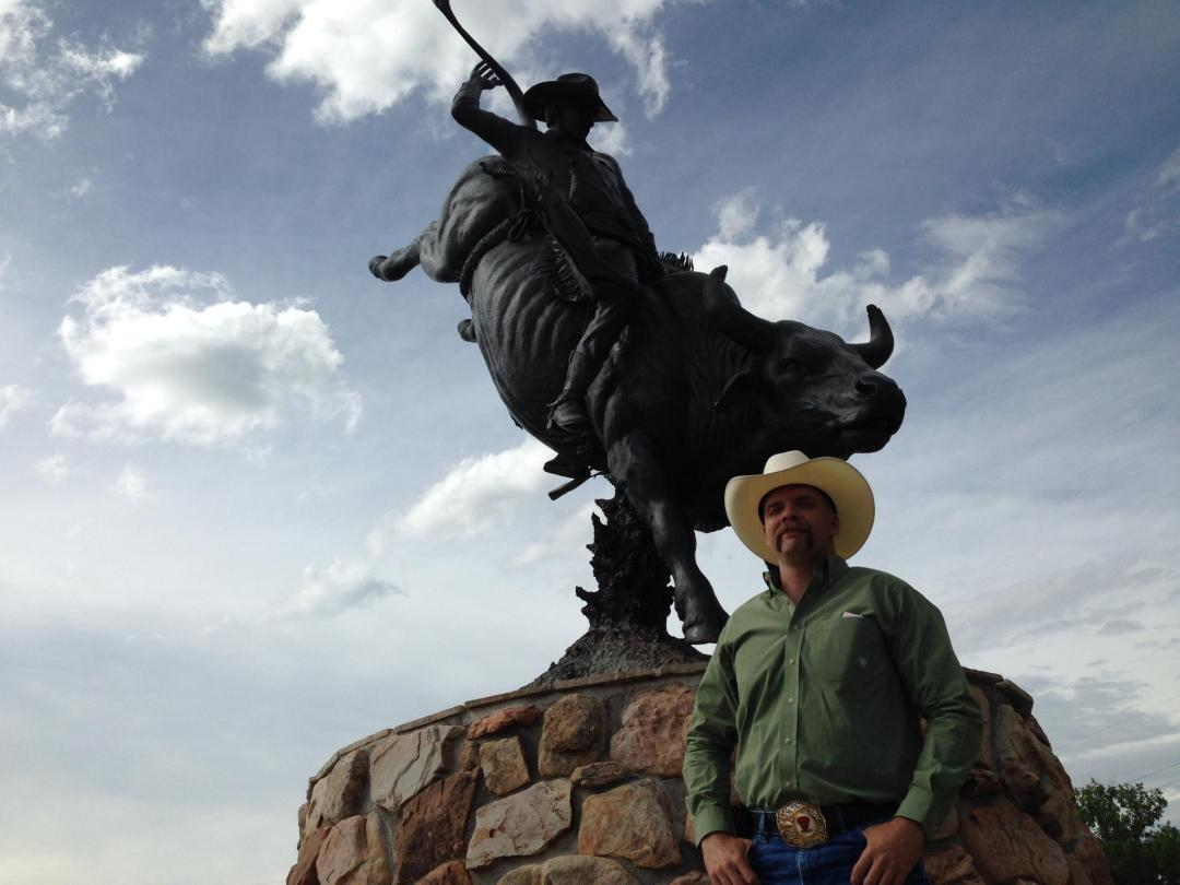 Ryan Reed of the International Gay Rodeo Association pays tribute to bull rider Lane Frost, who died at Cheyenne Frontier Days in 1989.