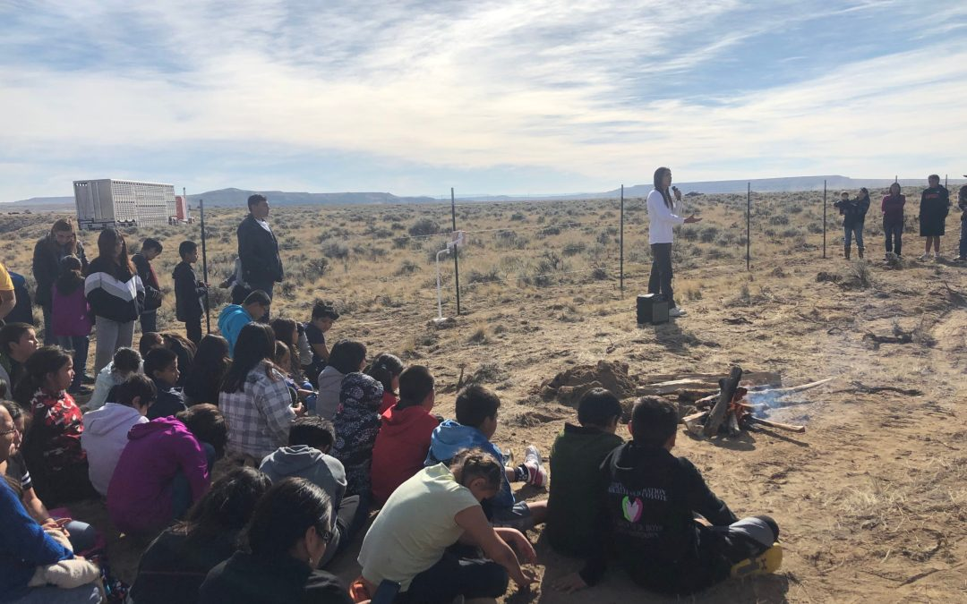Devin Oldman addresses the crowd at the Northern Arapaho buffalo release