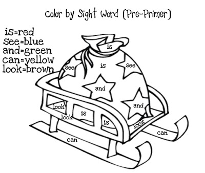 More FREE Christmas Color by Sight Words