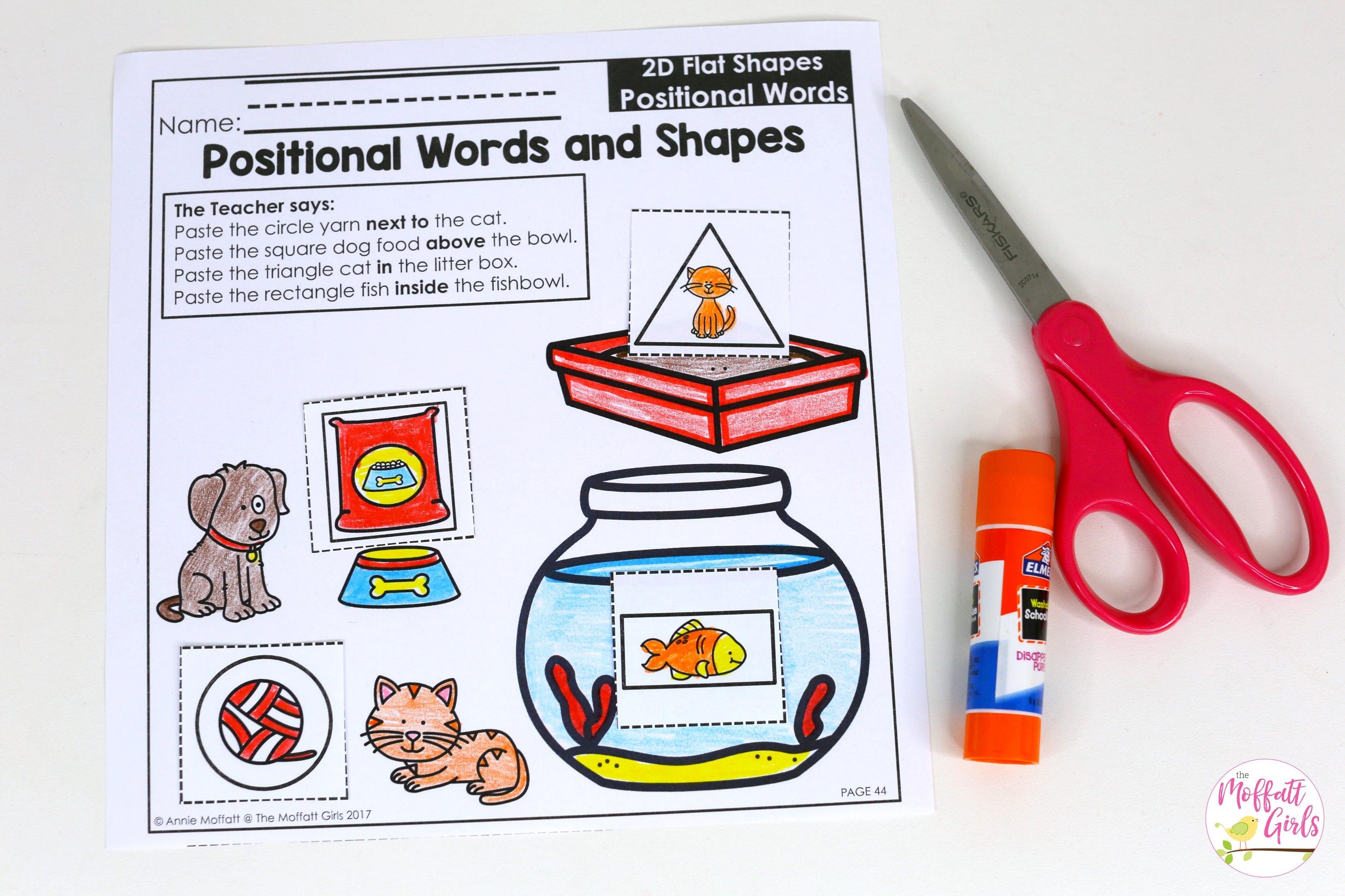 Positional Shapes Worksheets