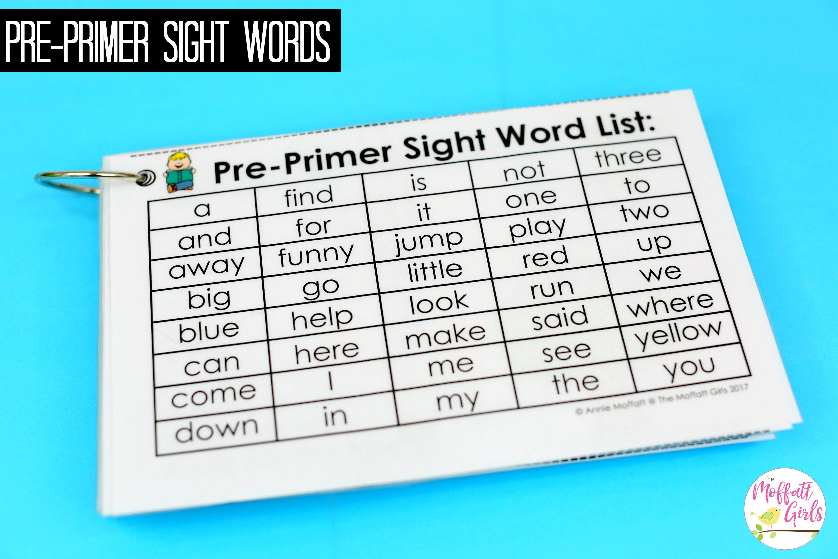 Preprimer Sight Word Fluency Sentences