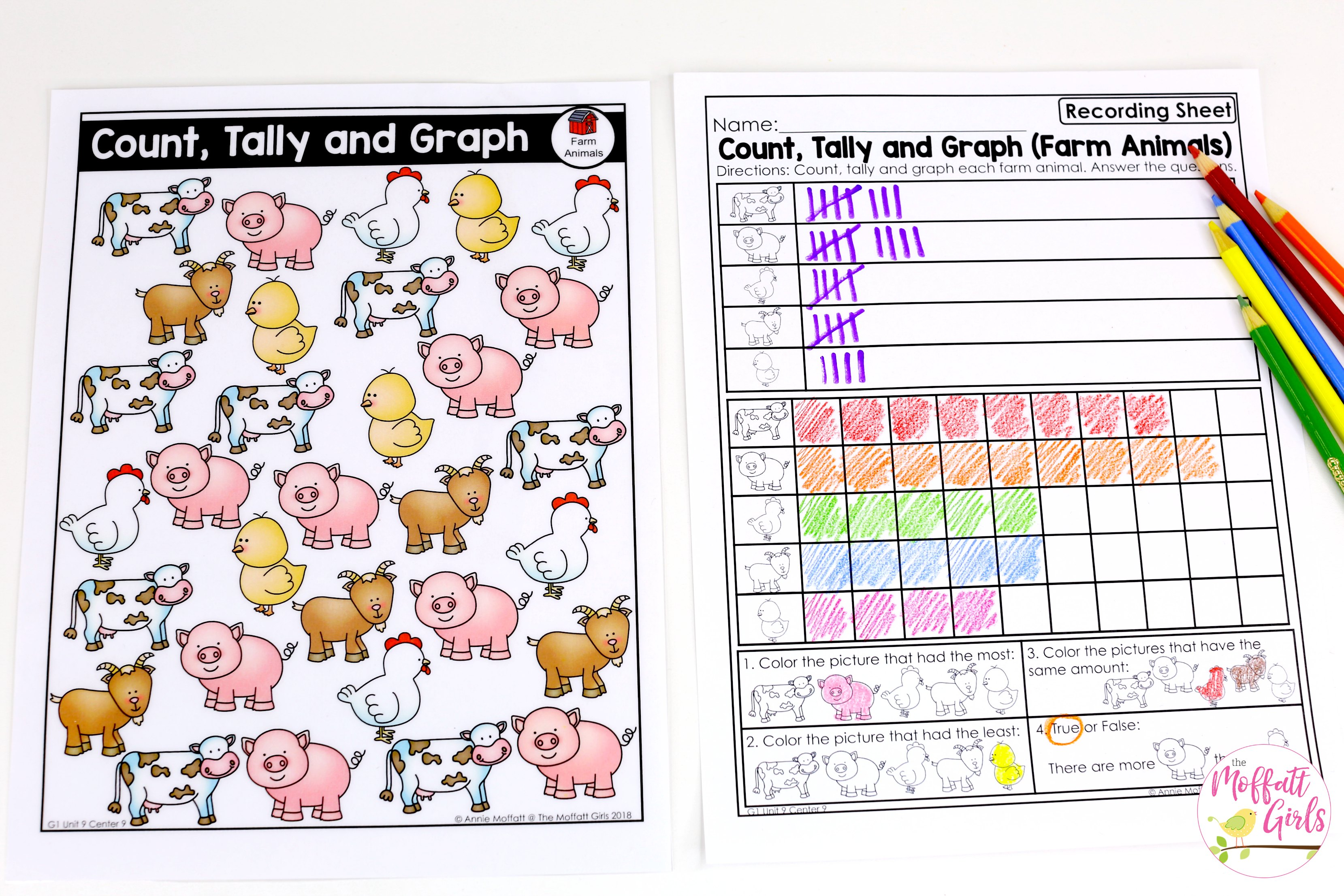 Count And Graph Farm Animals 1b