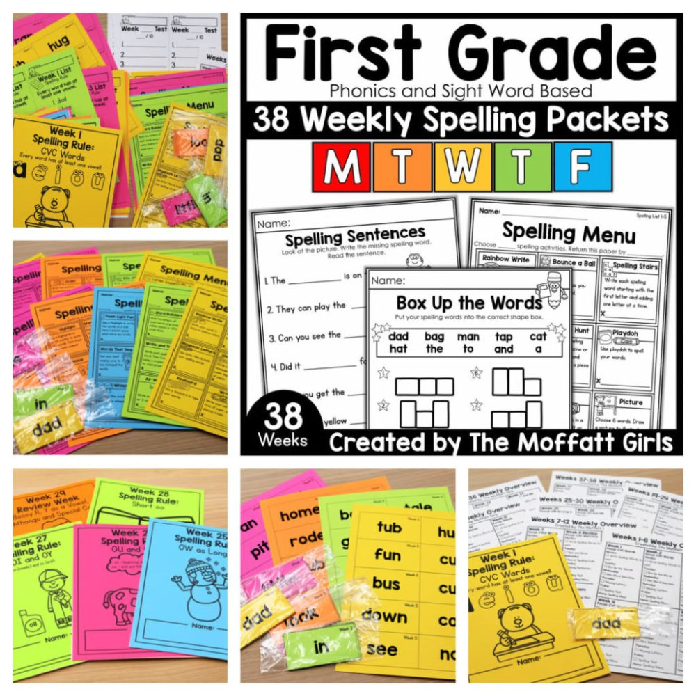 medium resolution of First Grade Spelling Packets (Curriculum) -Fun and Simple!