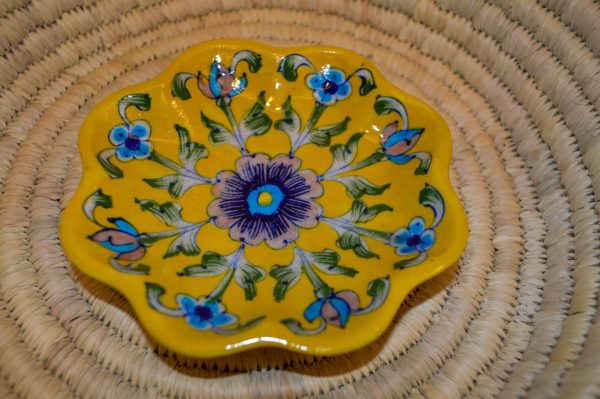 buy blue pottery trinket holder
