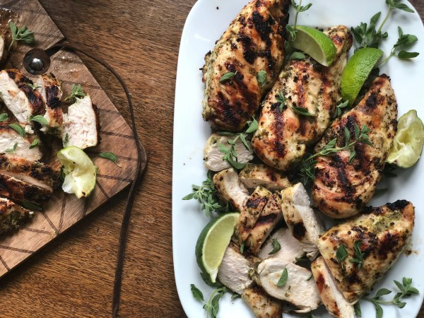 Simple Grilled Chicken on a serving platter