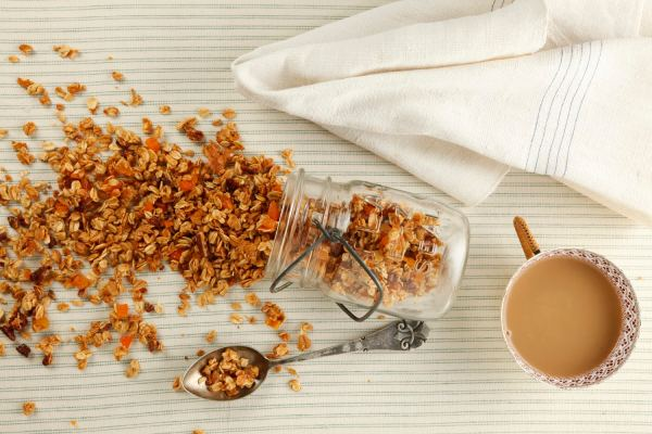 Crunchy Chewy Granola stored in a jar