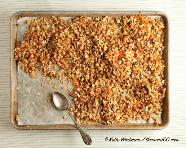 Crunchy Chewy Granola on a sheet pan