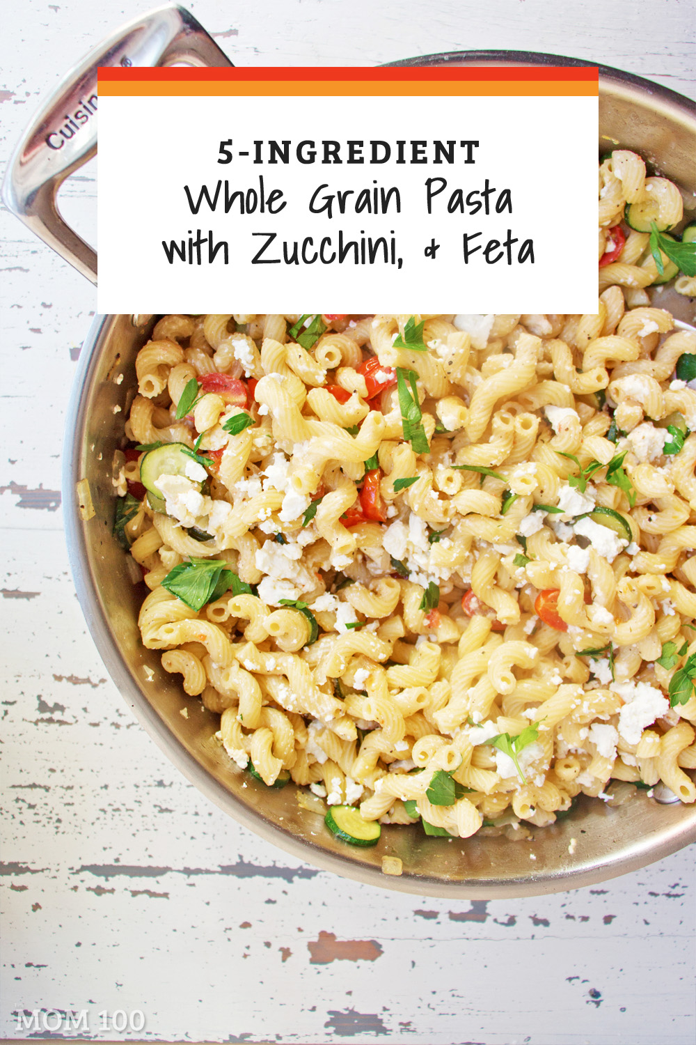 5-Ingredient Pasta: Whole Grain Penne with Zucchini, Tomato and Feta: classic Greek ingredients come together in this pasta like they\'ve know each other forever.