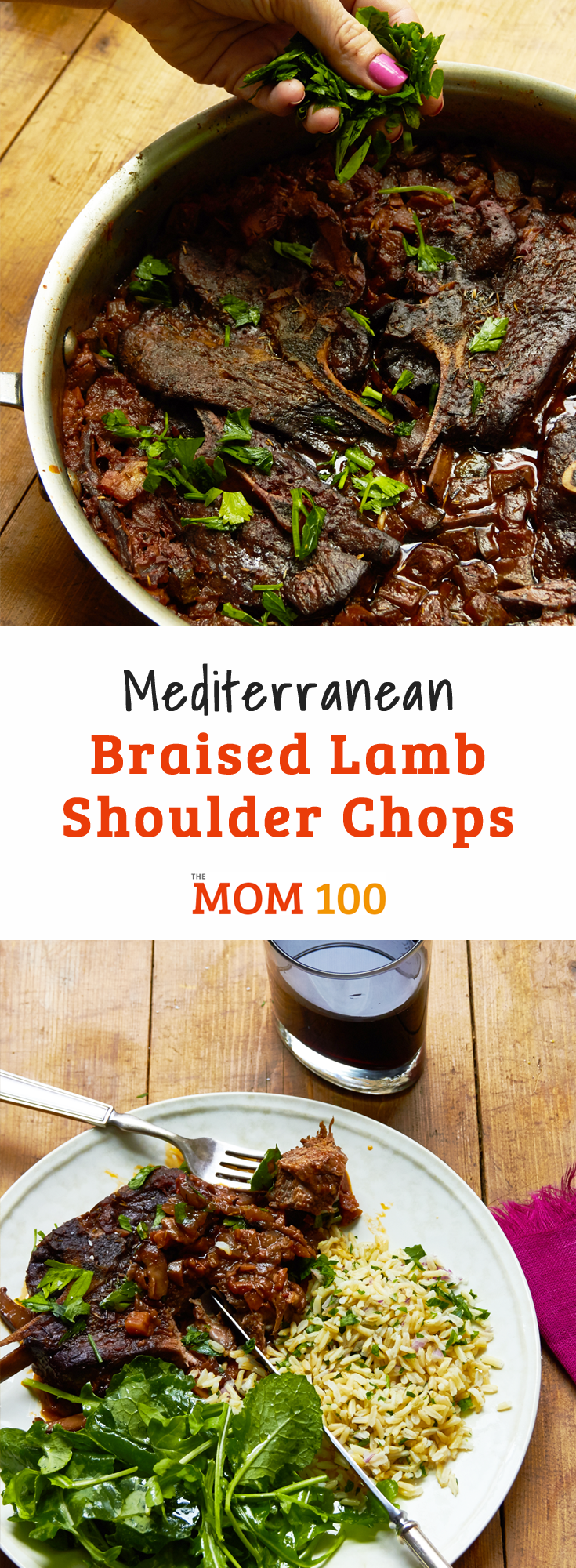 Mediterranean Braised Lamb Shoulder Chops: Tender rich meat is smothered with a rich sauce made with tomatoes and red wine, and studded with vegetables.