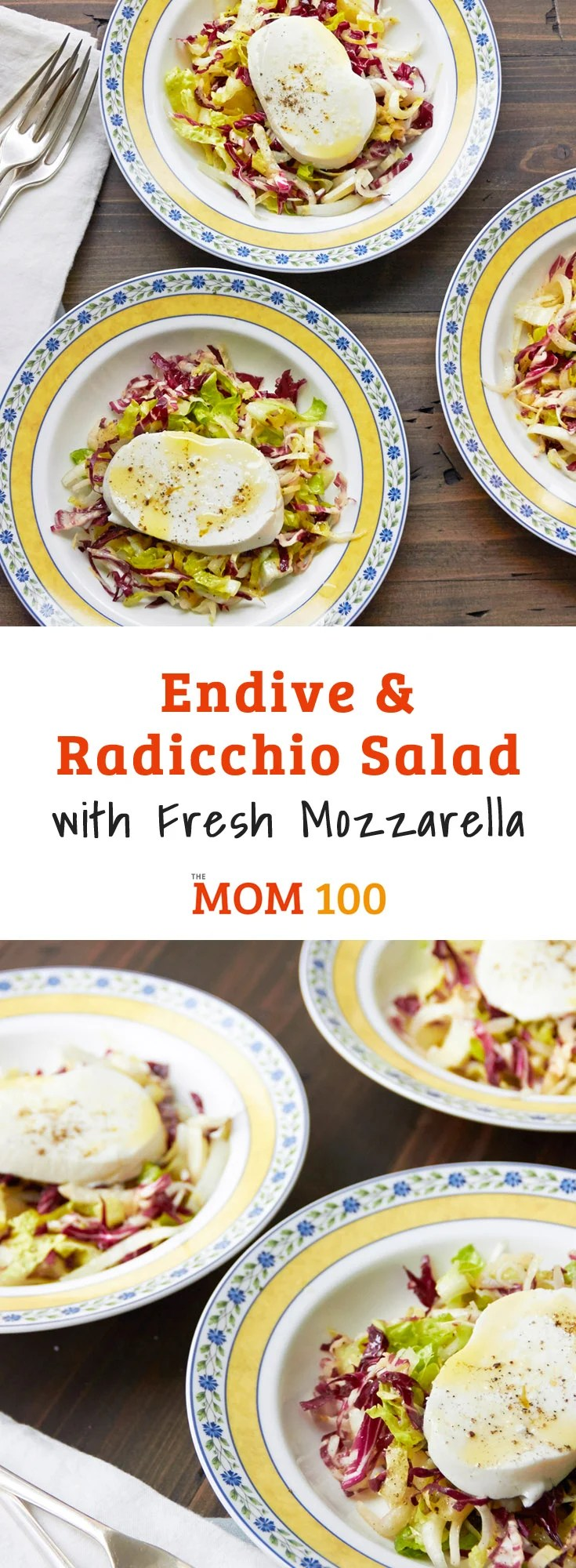 Endive and Radicchio Salad with Fresh Mozzarella is a salad that doesn't fade into the background. Plus, it was a hit with my kids.