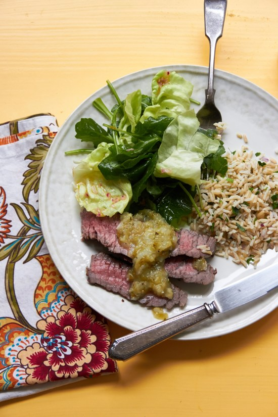 Grilled London Broil with salad