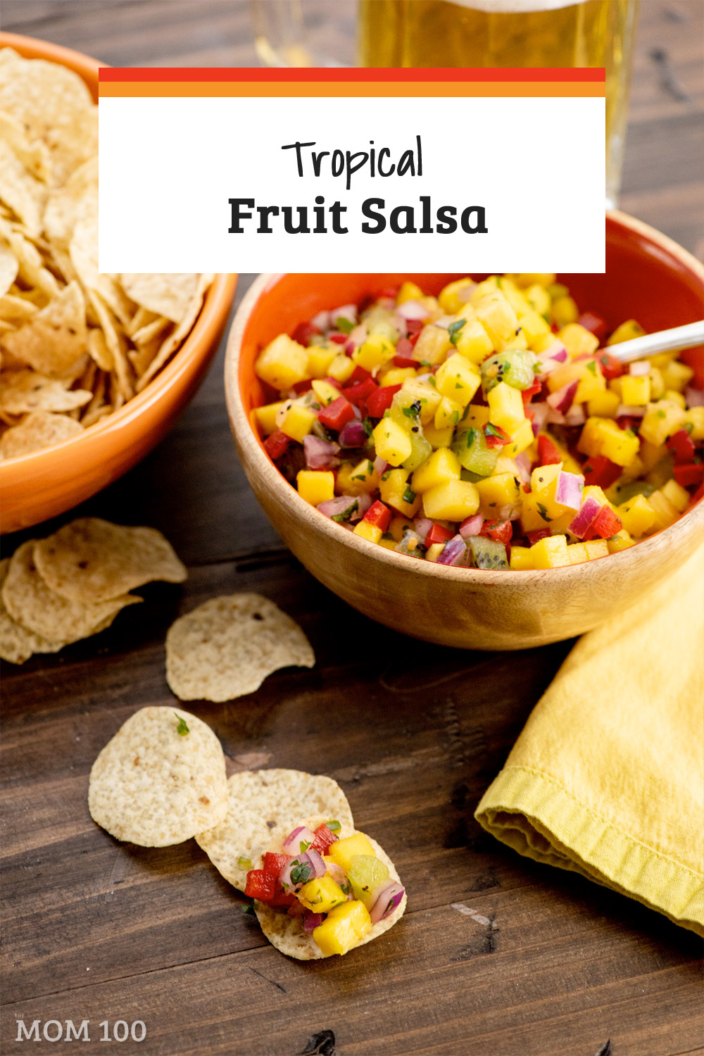 This tropical fruit salsa was recreated from a salsa bought from a fancy market. Good with chips, on any grilled or roasted meat, fish or poultry.