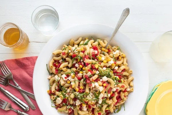 Simplest Tomato, Corn, Basil and Mozzarella Pasta Salad / Photo by Cheyenne Cohen / Katie Workman / themom100.com