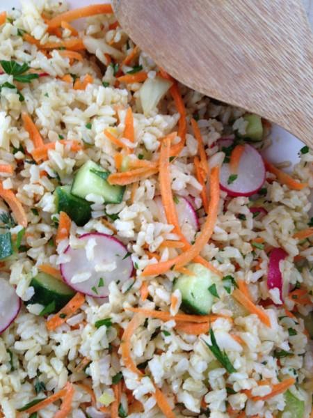 close up Brown Rice Vegetable Salad