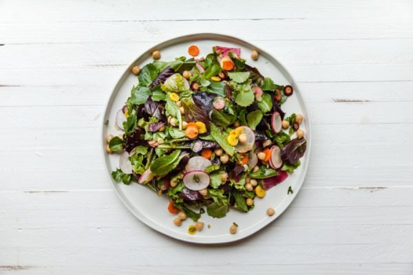 Baby Romaine, Chickpea, and Root Vegetable Salad with Slightly Spicy Dressing / Carrie Crow / Katie Workman / themom100.com