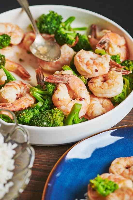 Garlicky Shrimp and Broccoli with Meyer Lemon