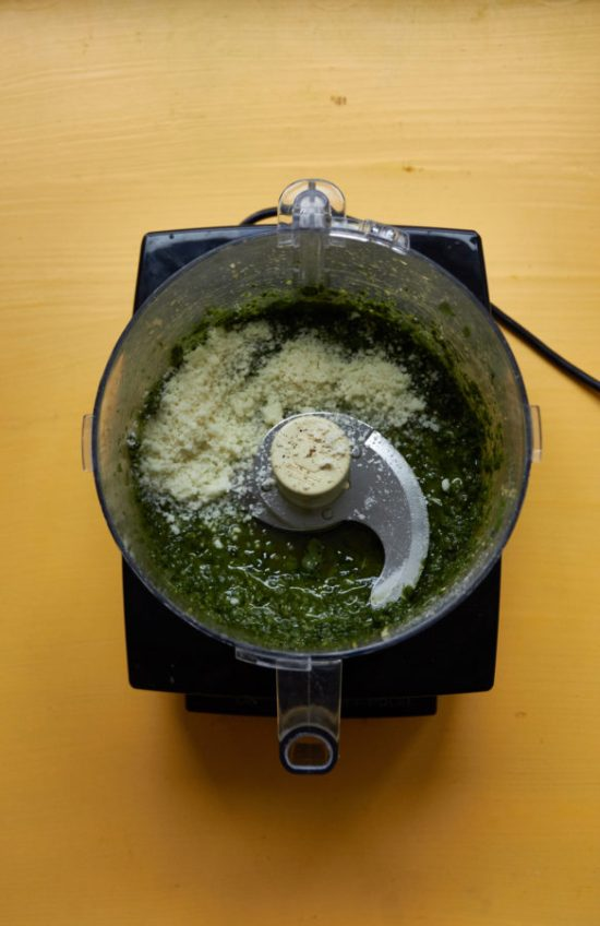 Making Pesto in the Food processor